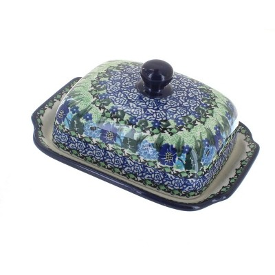 Blue Rose Polish Pottery Sapphire Fields Butter Dish