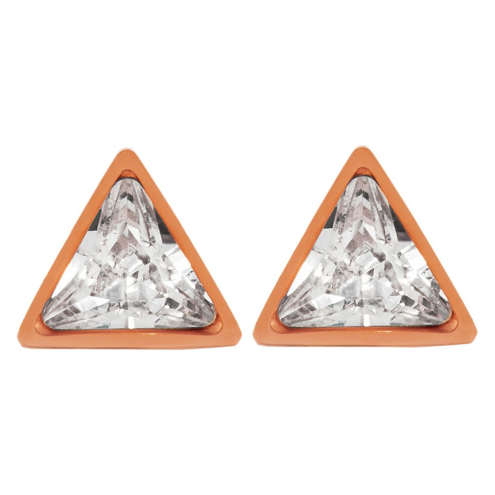 Image of ELYA Triangle Stud Earrings with Cubic Zirconia - Rose Gold, Women's, Pink Gold