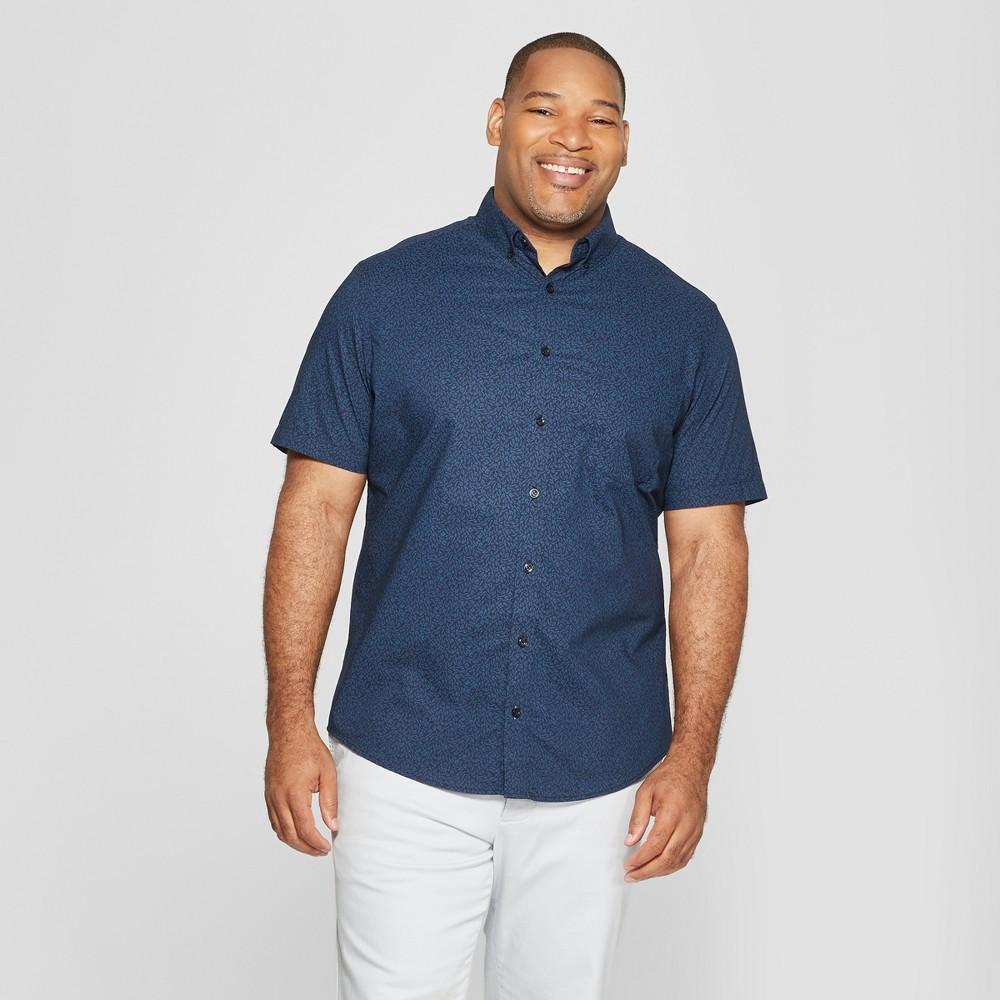 Men's Big & Tall Standard Fit Short Sleeve Poplin Button-Down Shirt - Goodfellow & Co Blue Foil 5XB