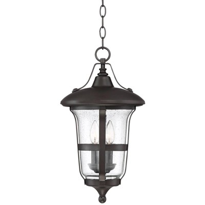 """John Timberland Outdoor Ceiling Light Hanging Lantern Bronze 19"""" Clear Seedy Glass for Exterior House Porch Patio Deck"""