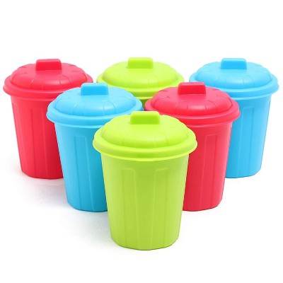 Juvale 6-Pack Mini Plastic Desk Trash Can Garbage Containers with Lid, 3 Colors