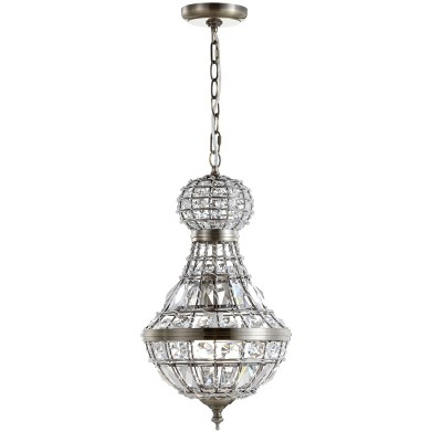 LED Crystal/Metal Regina Empire Chandelier Antique Brass - JONATHAN Y