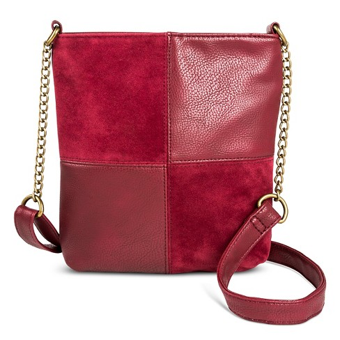T-Shirt & Jeans Women's Faux Leather Mini Patchwork Crossbody Handbag with Zipper Closure - Maroon - image 1 of 3