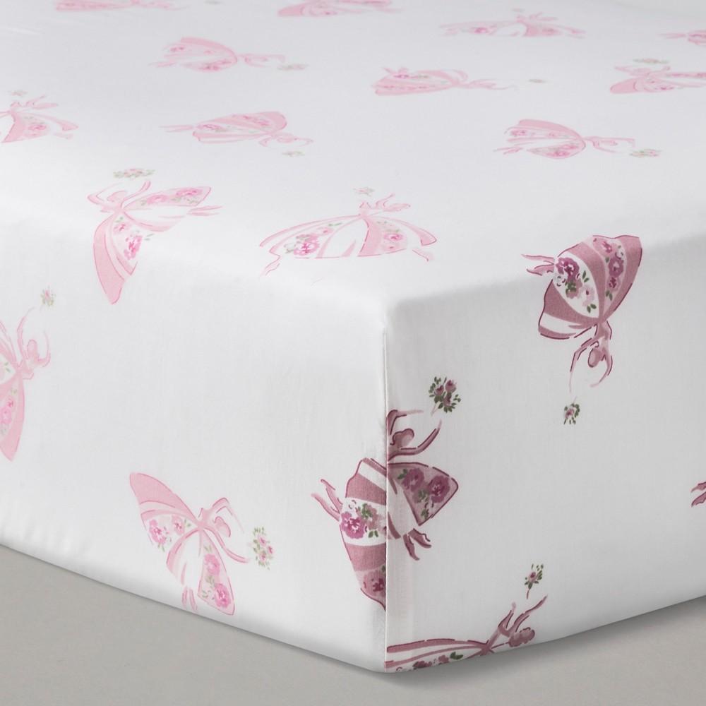 Nursery Pink Fitted Crib Sheet Ballerinas - Simply Shabby Chic