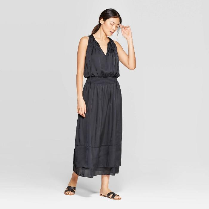 Women's Sleeveless V-Neck Smocking Maxi Dress - Prologue™ Black - image 1 of 3