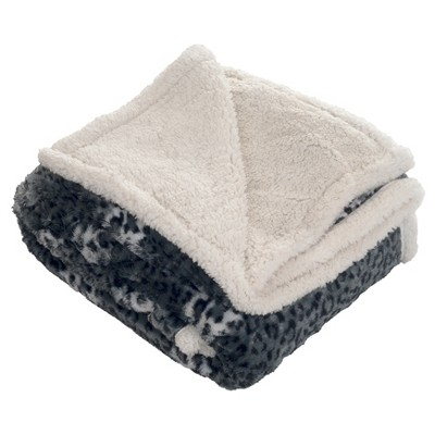 Fleece Sherpa Throw Blanket Black/White - Trademark Global