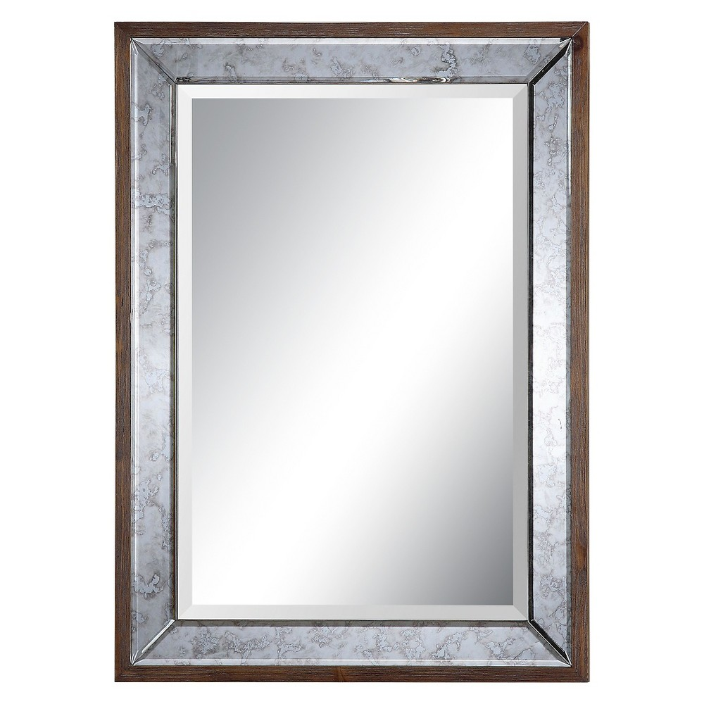 Rectangle Daria Antique Framed Decorative Wall Mirror - Uttermost, Pecan Brown