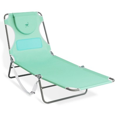 Ostrich Outdoor Lightweight Folding Adjustable Reclining Ladies Mens Comfort Chaise Lounge Beach Chair for Tanning Pool Lake Patio Lawn Camping, Teal