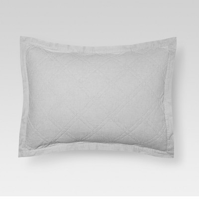 Gray Linen Quilted Sham (King)- Threshold™