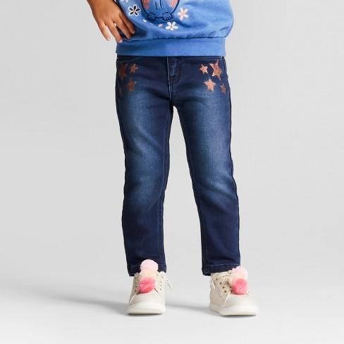 Toddler Girls' Sloane Skinny Jeans - Cat & Jack™ Dark Blue 3T - image 1 of 4
