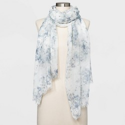 Women's Oblong Tye Dye Floral Print Scarf - A New Day™ Cream One Size