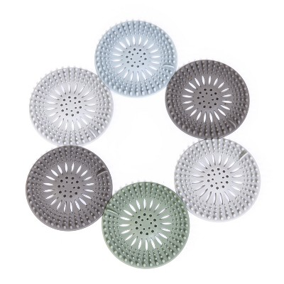 Lakeside Hair Catcher Drain Covers for the Bathroom and Shower - Set of 6