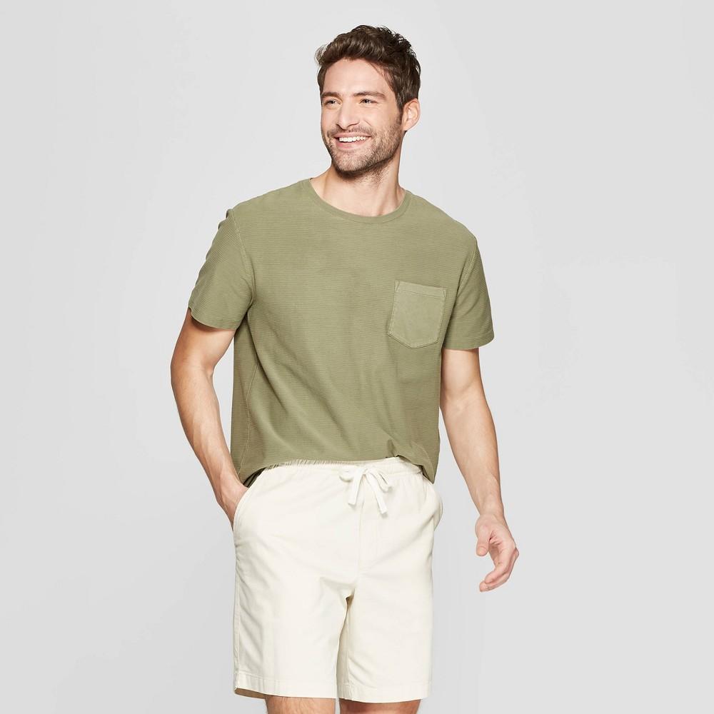Men's Jacquard Standard Fit Short Sleeve Textured T-Shirt - Goodfellow & Co Late Night Green XL