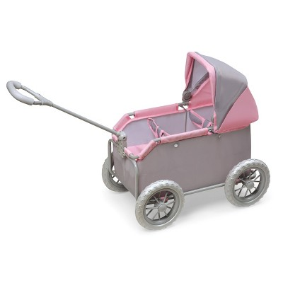 Leisure Twin Doll Wagon - Gray/Pink