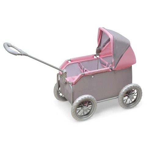 Leisure Twin Doll Wagon - Gray/Pink - image 1 of 4