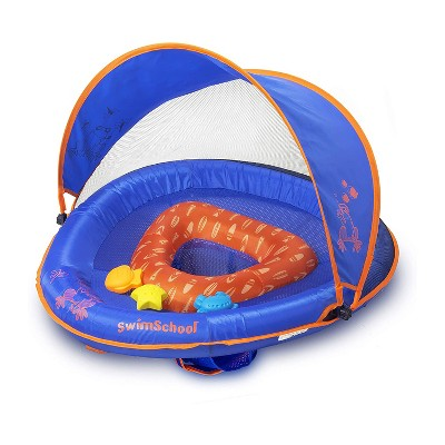 SwimSchool Baby Boat Splash and Play Float with Adjustable Safety Seat, Dual Air Pillow Chambers, and Sun Shade Canopy, Blue