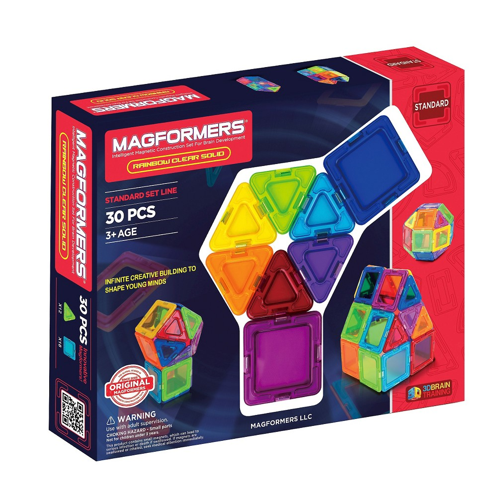 Magformers Opaque Rainbow 30 PC Set