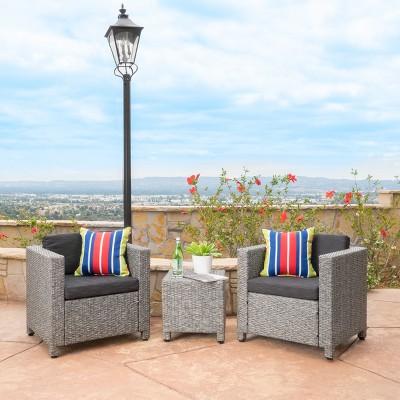 Puerta 3pc Wicker Club Chair Set - Mixed Black/Dark Gray - Christopher Knight Home