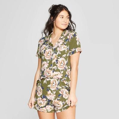 2fe1214ace44 Women s Floral Print Beautifully Soft Notch Collar Pajama Set - Stars  Above™ Green