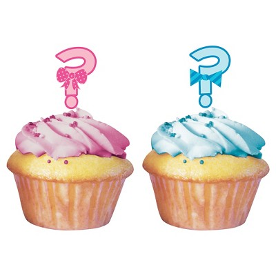 Baby Gender Reveal Cupcake Toppers (12 per pack)