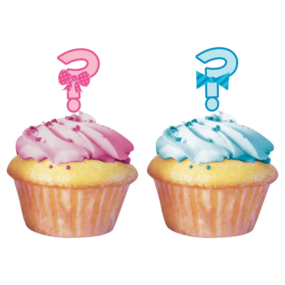 Image of Baby Gender Reveal Cupcake Toppers (12 per pack)