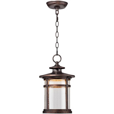 """Franklin Iron Works Rustic Outdoor Ceiling Light Hanging Lantern LED Bronze 13 1/2"""" Clear Seedy Glass for Exterior Porch Patio"""
