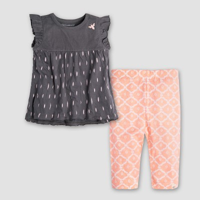 Burt's Bees Baby Girls' Organic Cotton Ikat Flutter Sleeve T-Shirt & Capri Leggings - Gray/Coral 3-6M