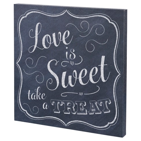 "Black, White ""Love is Sweet"" Canvas Wedding Sign - image 1 of 2"