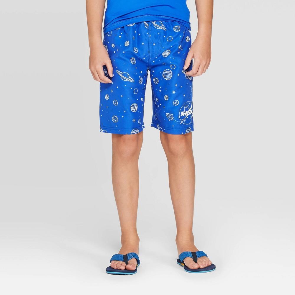 Image of Boys' NASA Logo Planets Swim Trunks - Blue S, Boy's, Size: Small