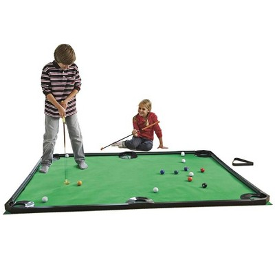 HearthSong - Golf Pool Indoor Family Game-Includes Two Golf Clubs, 16 Balls, Green Mat, and Rails for Kids