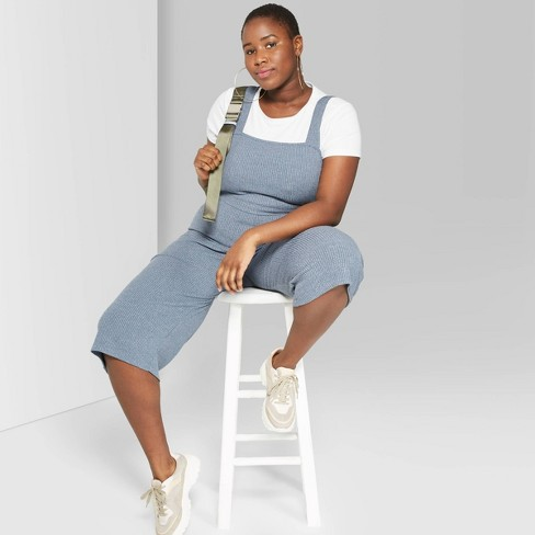 5116c3a64ab7 Women s Plus Size Sleeveless Square Neck Strappy Rib Knit Cropped Jumpsuit  - Wild Fable™ Blue