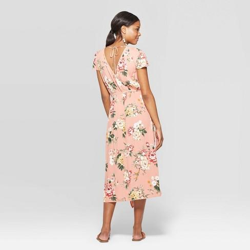 af9b0c7076 Women's Floral Print Short Sleeve Deep V-Neck Wrap High Low Hem Maxi Dress  - Xhilaration™ : Target