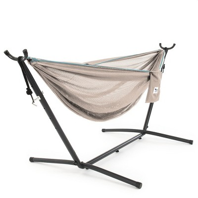 Vivere 9ft Polyester Mesh Double Hammock and Stand