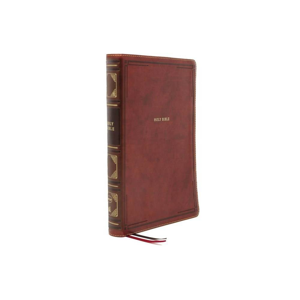 Nkjv Thinline Bible Large Print Leathersoft Brown Thumb Indexed Comfort Print By Thomas Nelson Leather Bound