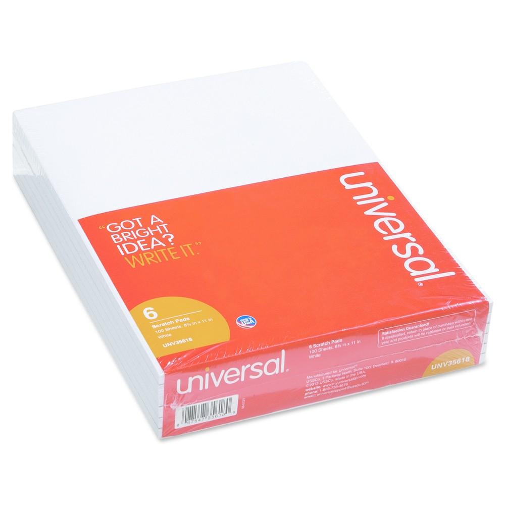 Universal Scratch Pads, Unruled, 8 1/2 x 11, White, 6 100 Sheet Pads/pk