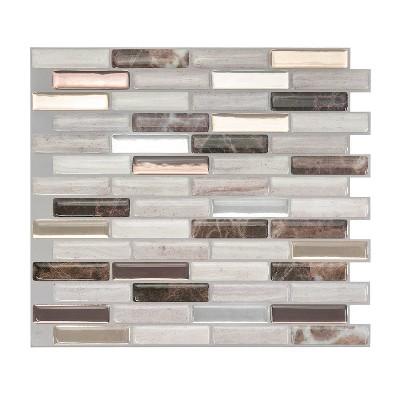 "Smart Tiles 3D Peel and Stick Backsplash 4 Sheets of 10.20"" x 9"" Kitchen and Bathroom Wallpaper Milenza Genoa"