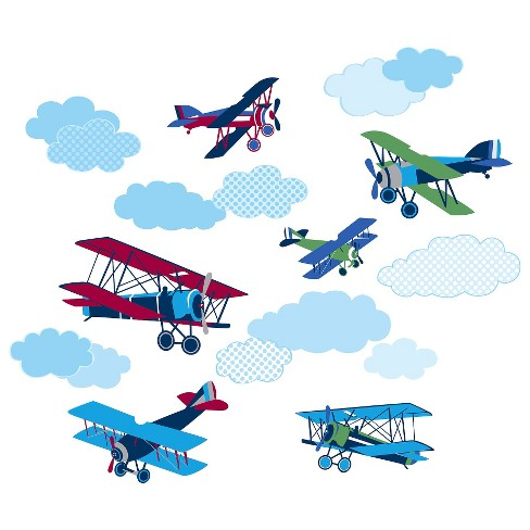 WallPops!® Mighty Vintage Planes Wall Art Kit -Blue - image 1 of 4