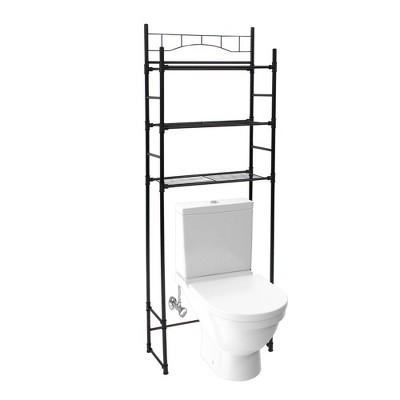 Juvale 65 inch 3 Tier Over the Toilet Storage Shelf, Bathroom Cabinet Shelving Space Saver Organizer, Black Metal