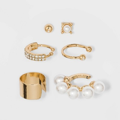 Shiny Gold with Crystal Stone and Imitation Pearl Multipack Ear Cuff - Wild Fable™ Gold