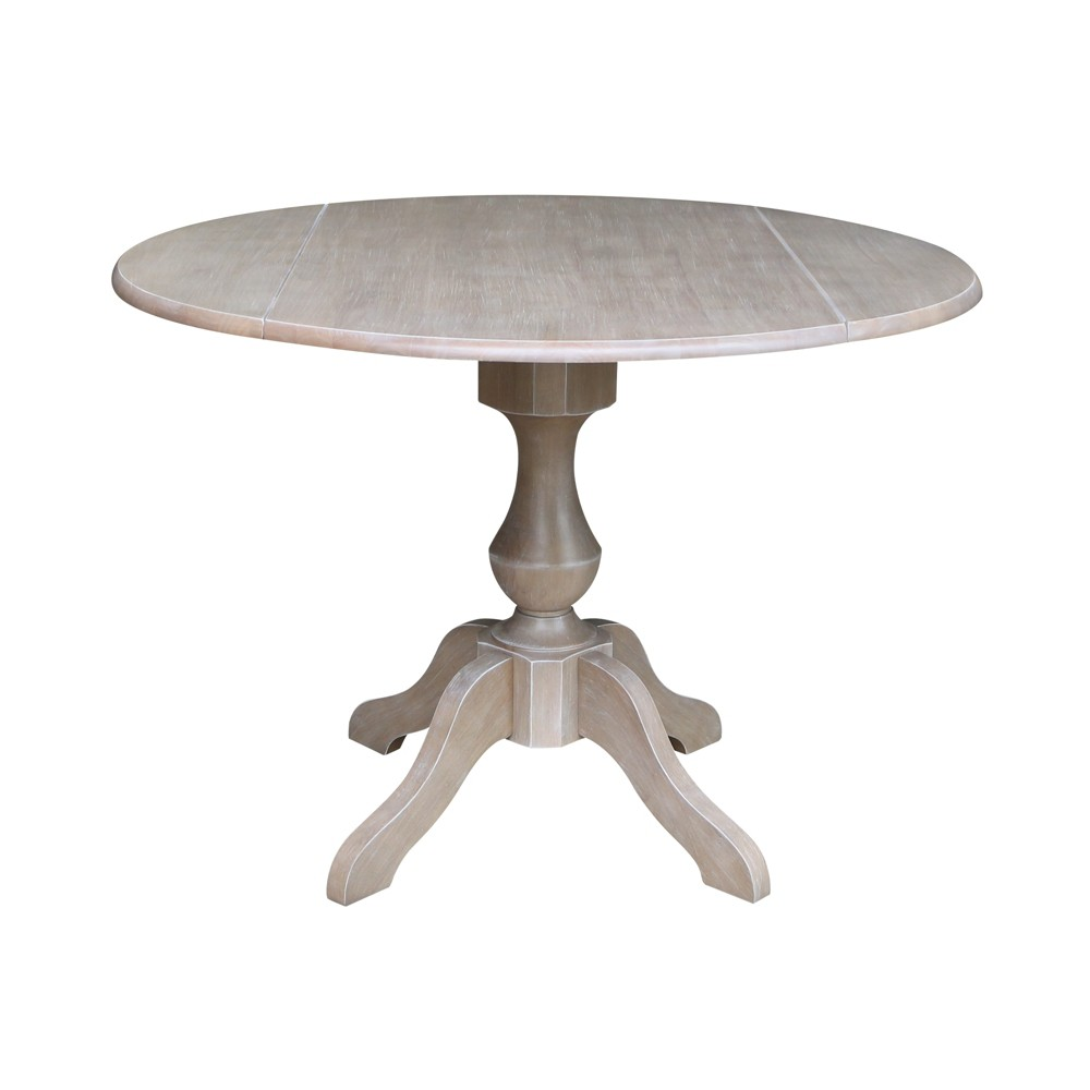 "Image of ""30.3"""" Kayden Round Dual Drop Leaf Pedestal Table Washed Gray Taupe - International Concepts"""