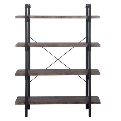 Oswald Industrial 4-Tier Shelf Dark Brown - Christopher Knight Home
