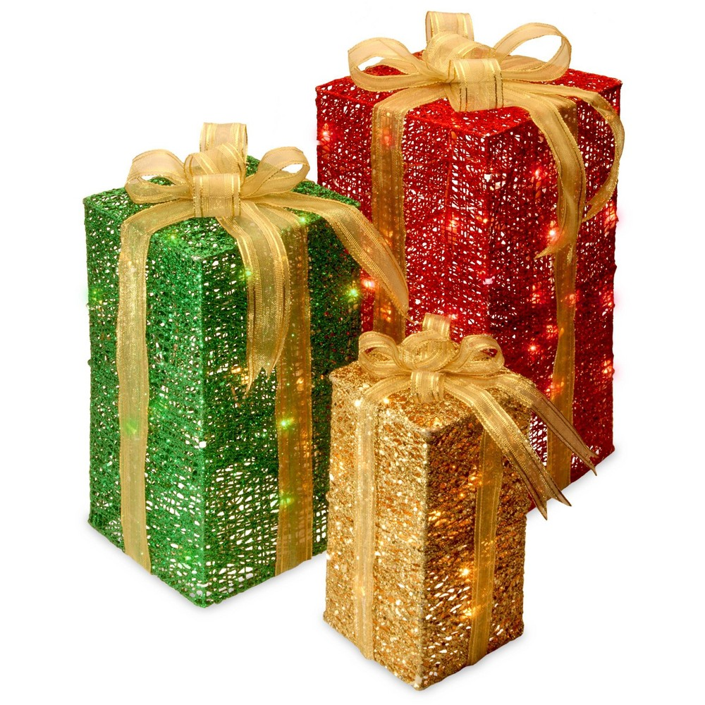 "Image of ""18"""", 15""""& 11"""" Gift Box Set with Clear Lights - National Tree Company"""