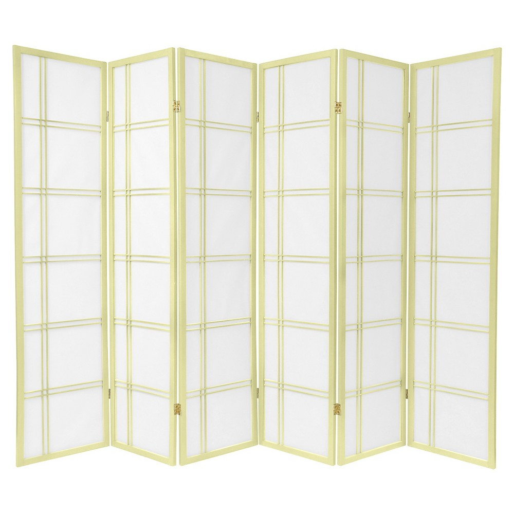 6 ft. Tall Double Cross Shoji Screen - Special Edition - Ivory (6 Panels)