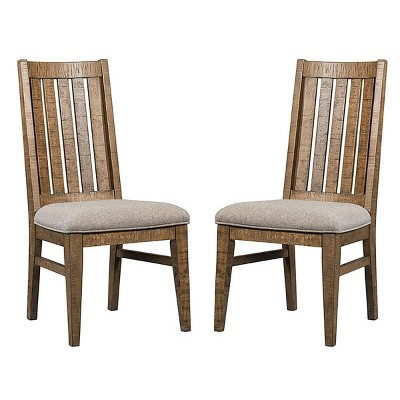 Set of 2 Urban Rustic Slat Back Side Chair Brushed Wheat - Intercon
