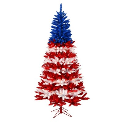 """Vickerman 4.5' x 35"""" Centennial Pine Artificial Christmas Tree, Instant Connect, Red, Clear, and Blue Incandescent Mini Lights"""