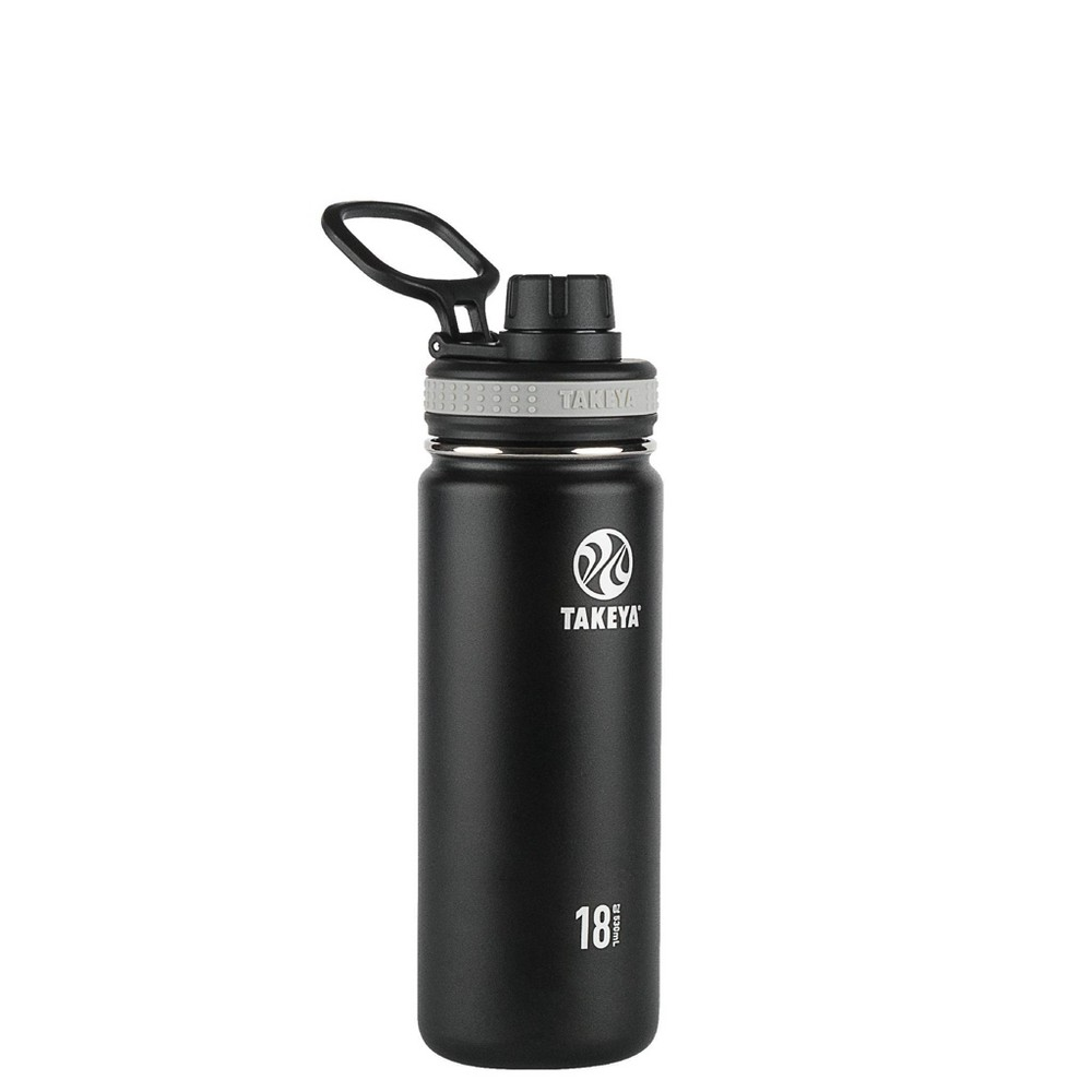Takeya Originals 18oz Insulated Stainless Steel Water Bottle With Spout Lid Black