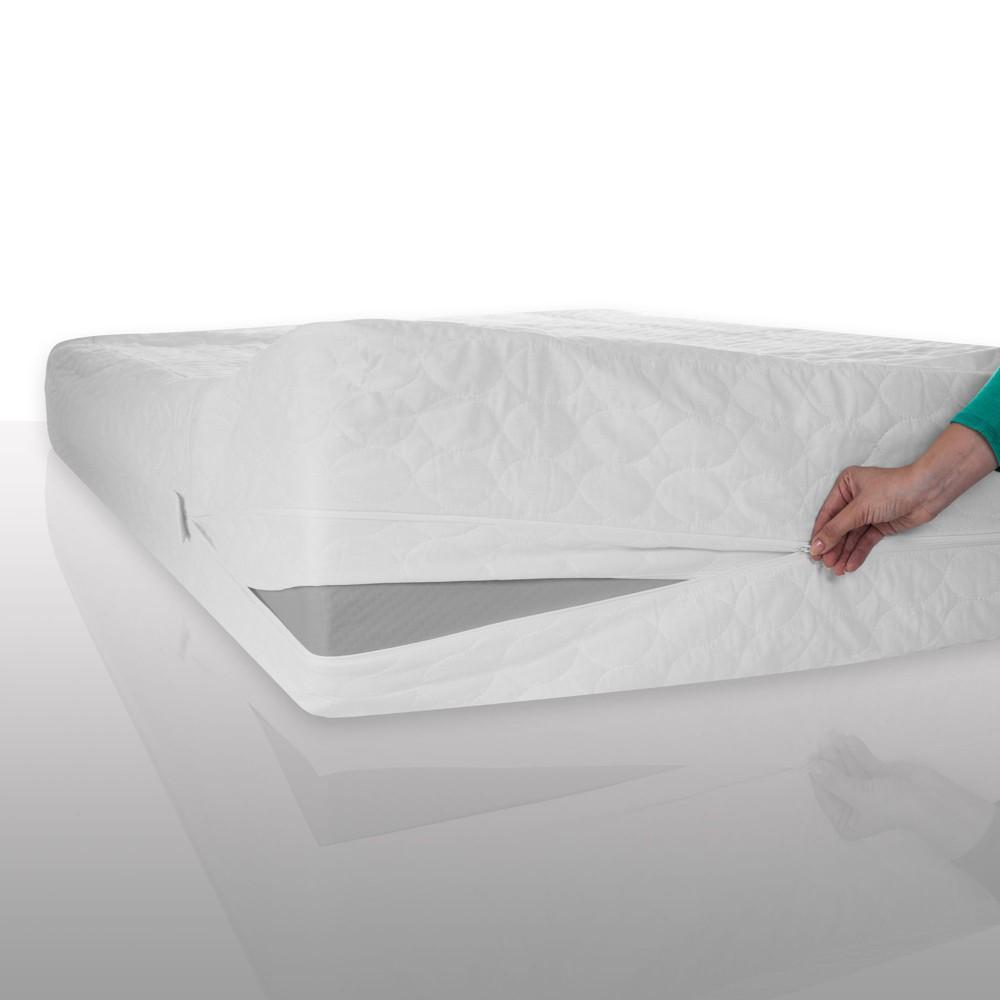 Image of Bed Bug Dust Mite Cotton Mattress Protector (Full) White - Bluestone