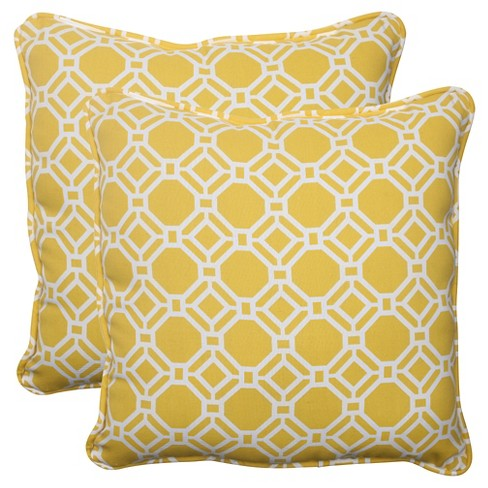 771b36a198b Outdoor 2-Piece Square Toss Pillow Set - Yellow White Rossmere Geometric