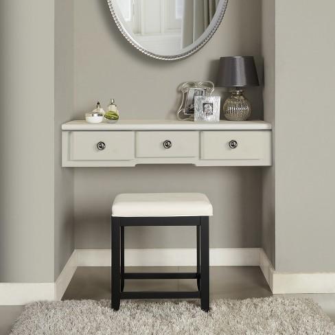Sensational Vista Vanity Stool Black White Crosley Alphanode Cool Chair Designs And Ideas Alphanodeonline