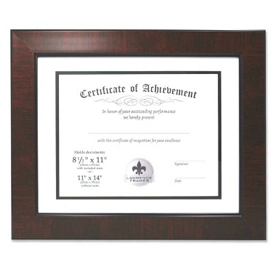 "11"" x 14"" matted to 8.5"" x 11"" Faux Mahogany Burl Document Frame - Lawrence Frames"
